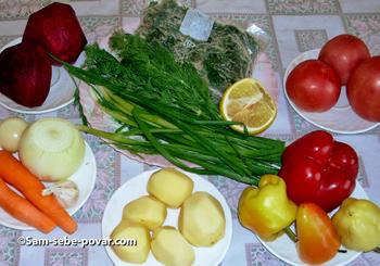 ингредиенты для свекольника, рецепт с фото