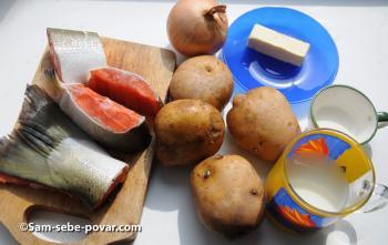 фото ингредиентов для чаудера с красной рыбой