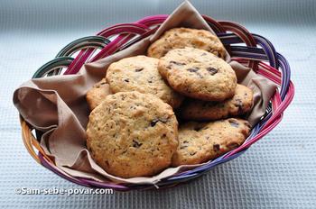 готовое печенье с овсяными хлопьями, пошаговое фото