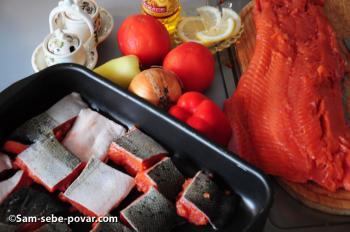 ингредиенты для рецепта запеченная красная рыба, пошаговое фото