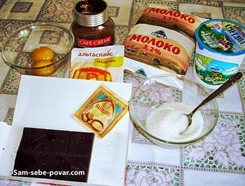 ингредиенты для кофейной панакоты, пошаговое фото